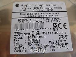 Apple/ibm Dcas-34330 4gb 50pin SCSI Hard Drive P/n00k0371 Fru83h7087mlce60259