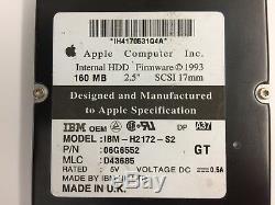 Genuine Apple SCSI Hard drive 2.5 160 MB. SCSI 17mm, IBM-H2172-S2