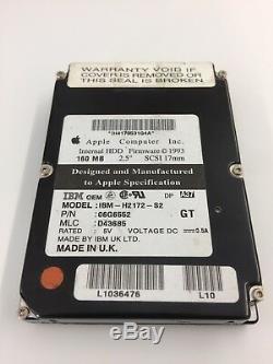 Genuine Rare Vintage Apple SCSI Hard drive 2.5 160 MB. SCSI 17mm, IBM-H2172-S2