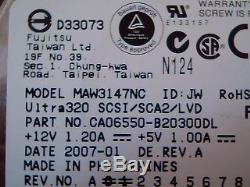 Hard Disk Drive SCSI Fujitsu Limited LVD/SE MAW3147NC CA06550-B20300DL 146GB