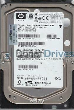 MAU3073NC, PN CA06380-B20100DC, HP 72.8GB SCSI 3.5 Hard Drive